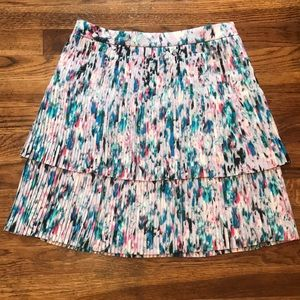 J. Crew two-tier Pleated Skirt, watercolor floral